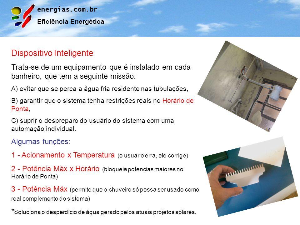 energias.com.br Eficiência Energética Dispositivo Inteligente Trata-se de um equipamento que é instalado em cada banheiro, que tem a seguinte missão: