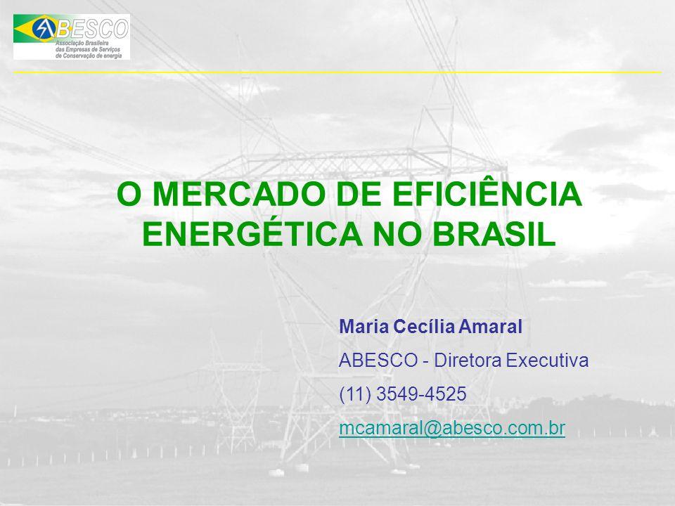 O MERCADO DE EFICIÊNCIA ENERGÉTICA NO BRASIL Maria Cecília Amaral ABESCO - Diretora Executiva (11) 3549-4525 mcamaral@abesco.com.br