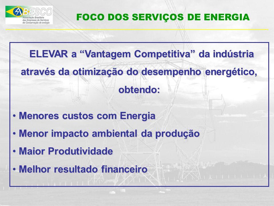 FOCO DOS SERVIÇOS DE ENERGIA ELEVAR a Vantagem Competitiva da indústria através da otimização do desempenho energético, obtendo: ELEVAR a Vantagem Com
