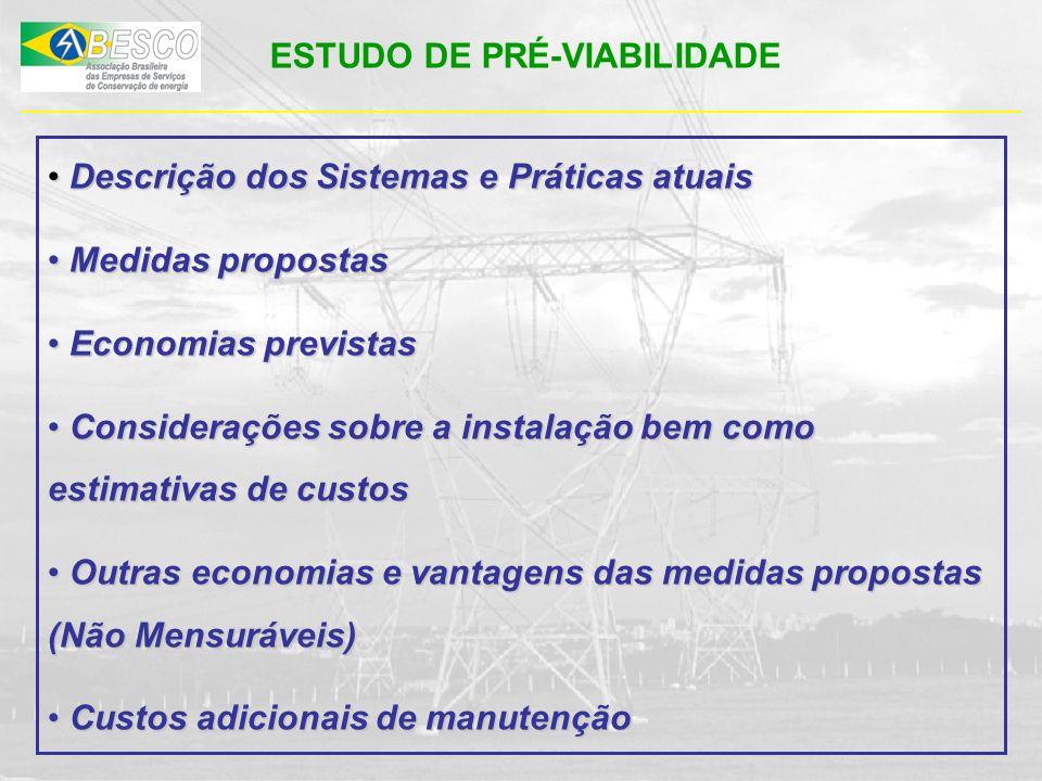 ESTUDO DE PRÉ-VIABILIDADE Descrição dos Sistemas e Práticas atuais Descrição dos Sistemas e Práticas atuais Medidas propostas Medidas propostas Econom
