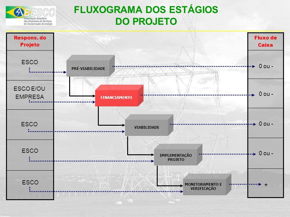 PRÉ-VIABILIDADE IMPLEMENTAÇÃO PROJETO MONITORAMENTO E VERIFICAÇÃO Respons. do Projeto Fluxo de Caixa ESCO 0 ou - + FLUXOGRAMA DOS ESTÁGIOS DO PROJETO