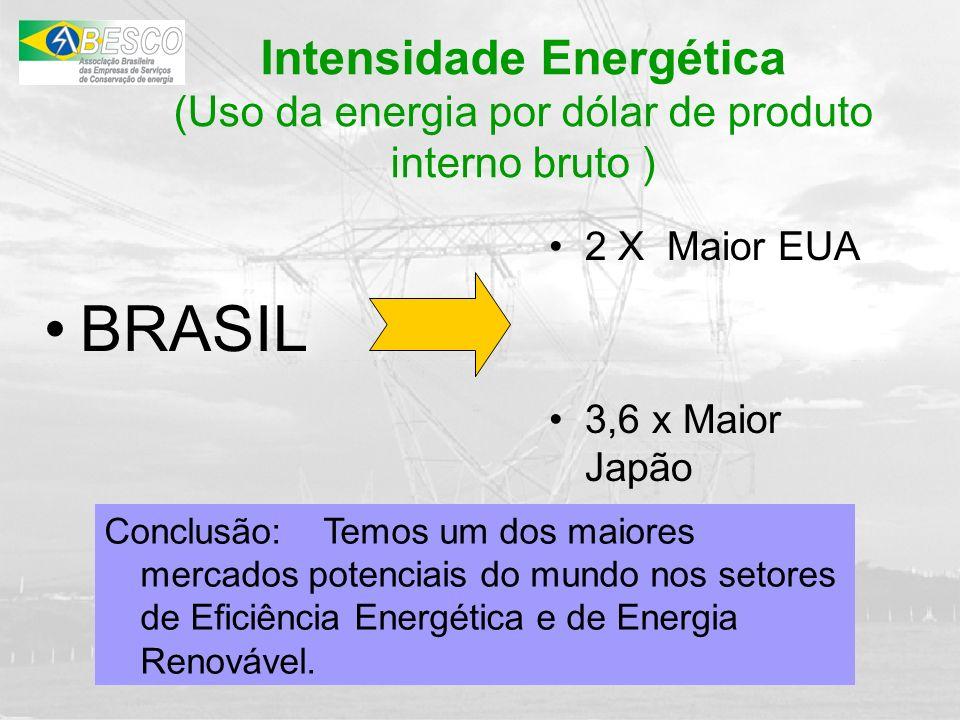 Conclusão: Temos um dos maiores mercados potenciais do mundo nos setores de Eficiência Energética e de Energia Renovável. BRASIL 2 X Maior EUA 3,6 x M