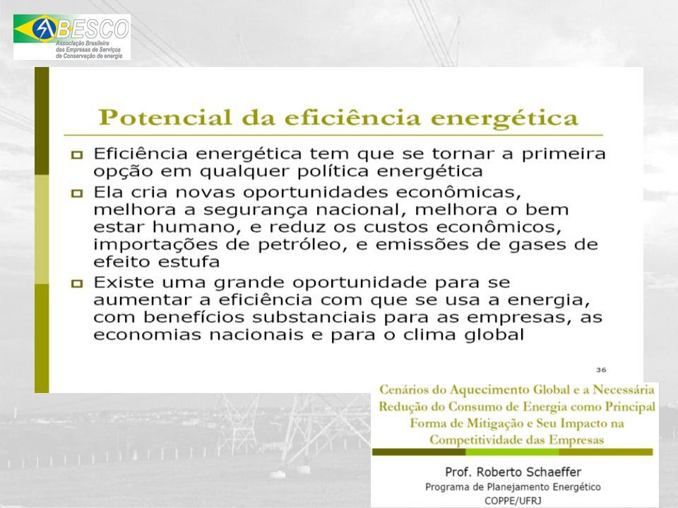 ESCO – EMPRESA DE SERVIÇOS DE CONSERVAÇÃO DE ENERGIA ESCO A diferença entre uma ESCO e uma Empresa de Consultoria é que a ESCO divide os riscos com o Cliente final.