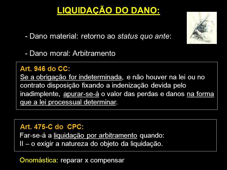 LIQUIDAÇÃO DO DANO: - Dano material: retorno ao status quo ante: - Dano moral: Arbitramento Art. 946 do CC: Se a obrigação for indeterminada, e não ho