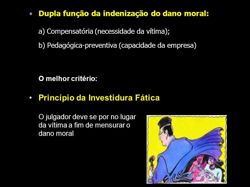 Dupla função da indenização do dano moral: a) Compensatória (necessidade da vítima); b) Pedagógica-preventiva (capacidade da empresa) O melhor critéri