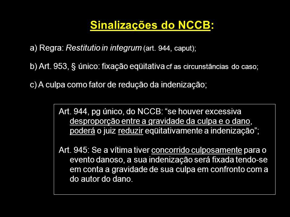 Sinalizações do NCCB: a) Regra: Restitutio in integrum (art. 944, caput); b) Art. 953, § único: fixação eqüitativa cf as circunstâncias do caso; c) A