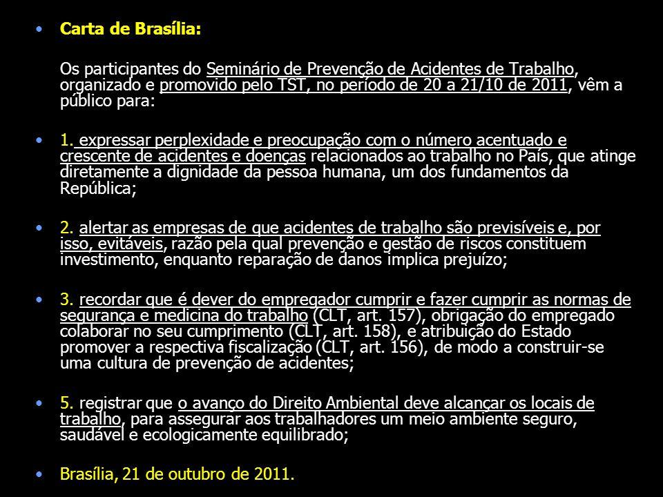Carta de Brasília: Os participantes do Seminário de Prevenção de Acidentes de Trabalho, organizado e promovido pelo TST, no período de 20 a 21/10 de 2