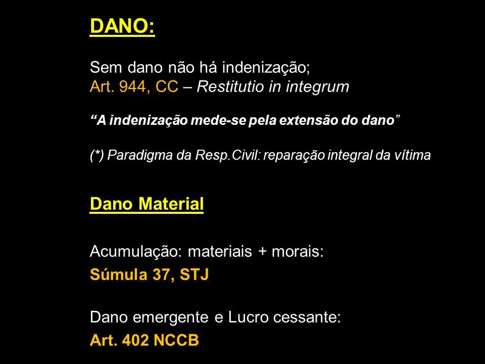 DANO: Sem dano não há indenização; Art. 944, CC – Restitutio in integrum A indenização mede-se pela extensão do dano (*) Paradigma da Resp.Civil: repa