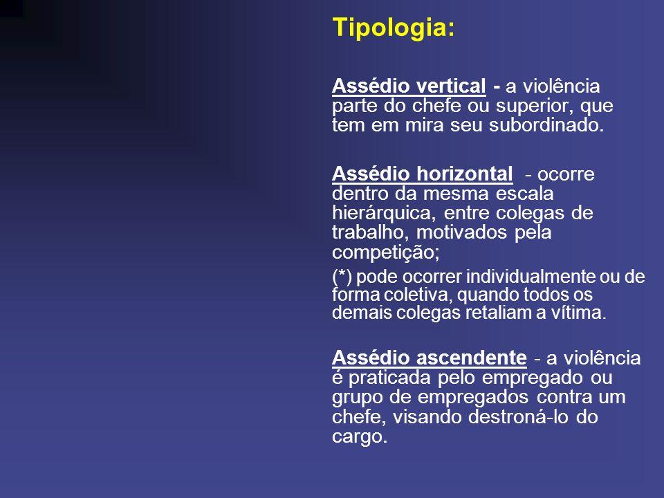 Tipologia: Assédio vertical - a violência parte do chefe ou superior, que tem em mira seu subordinado. Assédio horizontal - ocorre dentro da mesma esc
