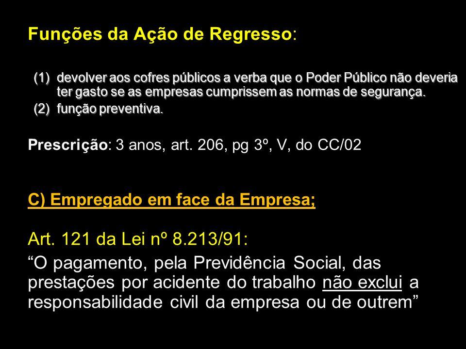 Funções da Ação de Regresso: (1) devolver aos cofres públicos a verba que o Poder Público não deveria ter gasto se as empresas cumprissem as normas de