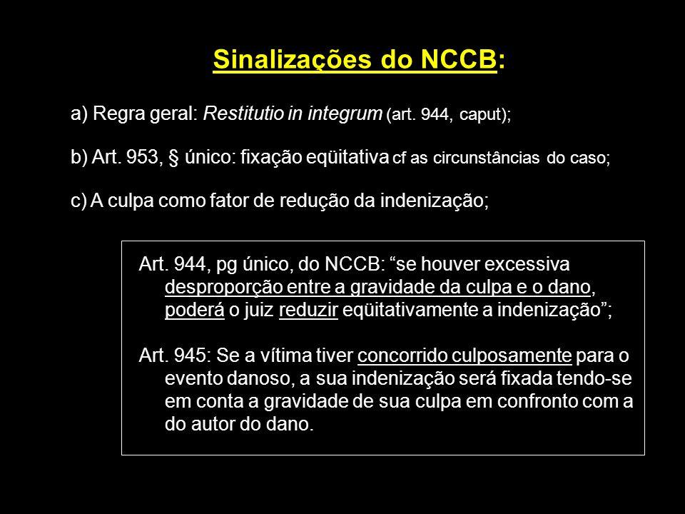 Sinalizações do NCCB: a) Regra geral: Restitutio in integrum (art. 944, caput); b) Art. 953, § único: fixação eqüitativa cf as circunstâncias do caso;