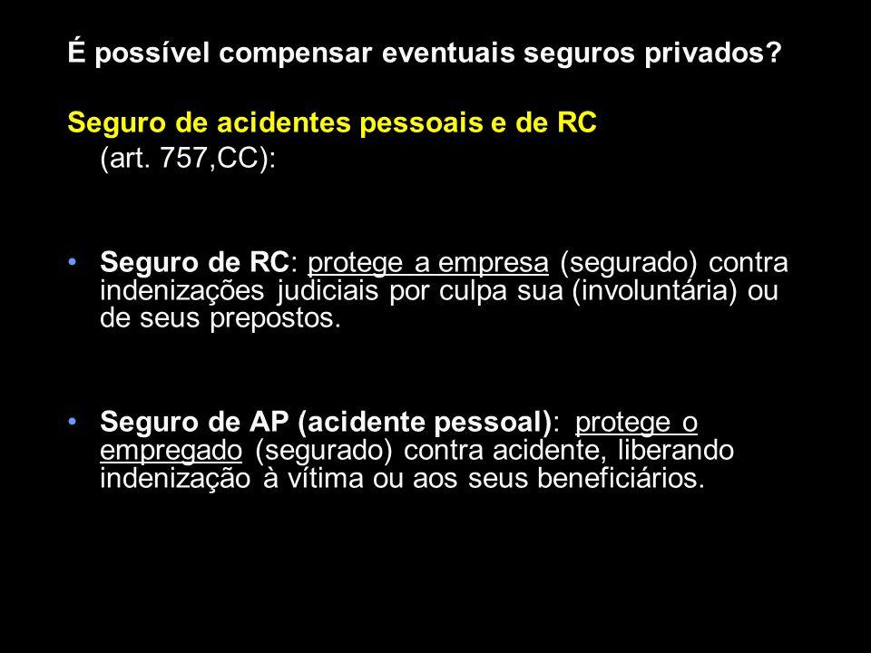 Compensação na indenização por acidente do trabalho: a)SAT (não); b)Seguro de AP ou Vida (não); c)Seguro de RC (sim) Integração na lide trabalhista: Art.