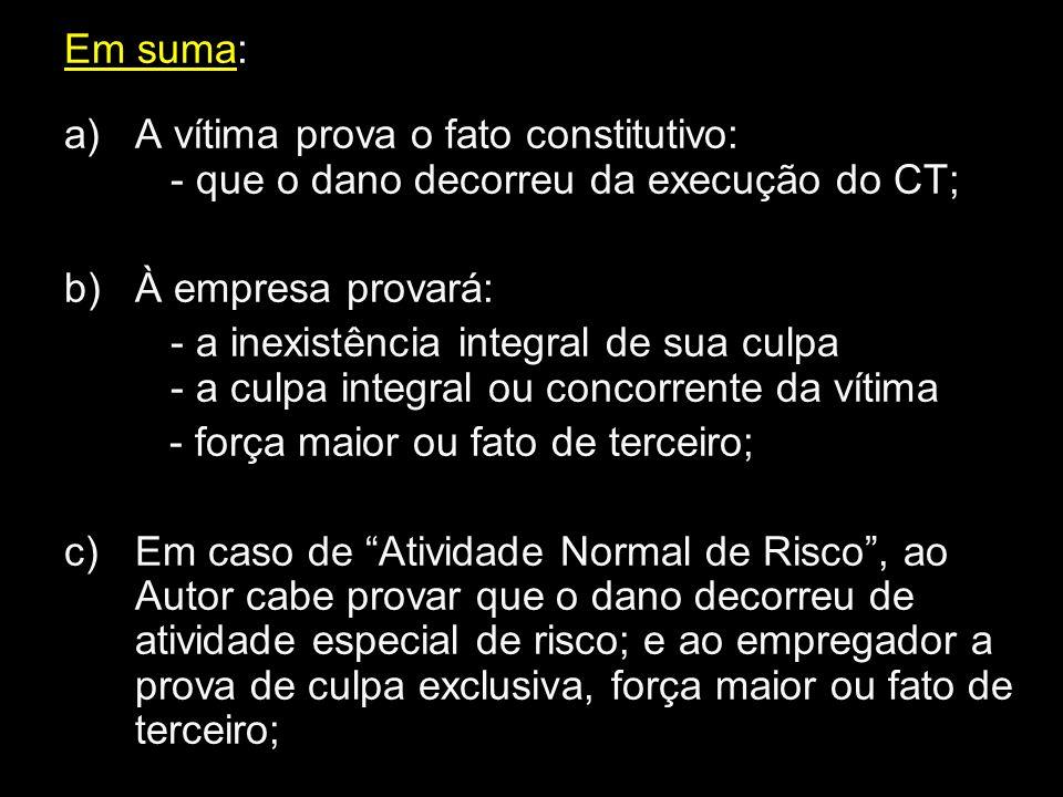 Em suma: a)A vítima prova o fato constitutivo: - que o dano decorreu da execução do CT; b)À empresa provará: - a inexistência integral de sua culpa -