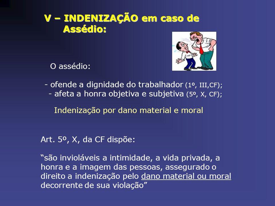 V – INDENIZAÇÃO em caso de V – INDENIZAÇÃO em caso de Assédio: Assédio: O assédio: - ofende a dignidade do trabalhador (1º, III,CF); - afeta a honra o