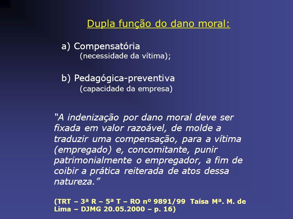 Dupla função do dano moral: a) Compensatória (necessidade da vítima); b) Pedagógica-preventiva (capacidade da empresa) A indenização por dano moral de