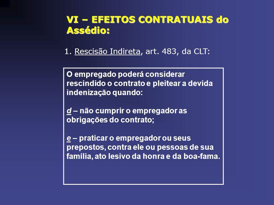 VI – EFEITOS CONTRATUAIS do Assédio: 1. Rescisão Indireta, art. 483, da CLT: O empregado poderá considerar rescindido o contrato e pleitear a devida i