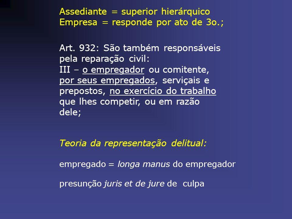 Assediante = superior hierárquico Empresa = responde por ato de 3o.; Art. 932: São também responsáveis pela reparação civil: III – o empregador ou com