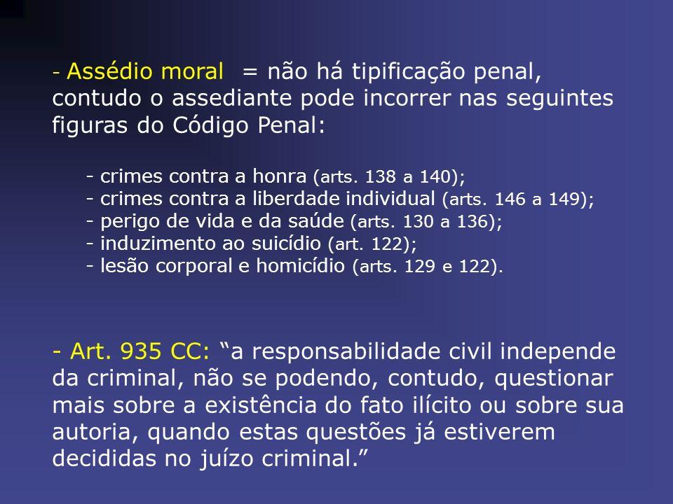- Assédio moral = não há tipificação penal, contudo o assediante pode incorrer nas seguintes figuras do Código Penal: - crimes contra a honra (arts. 1