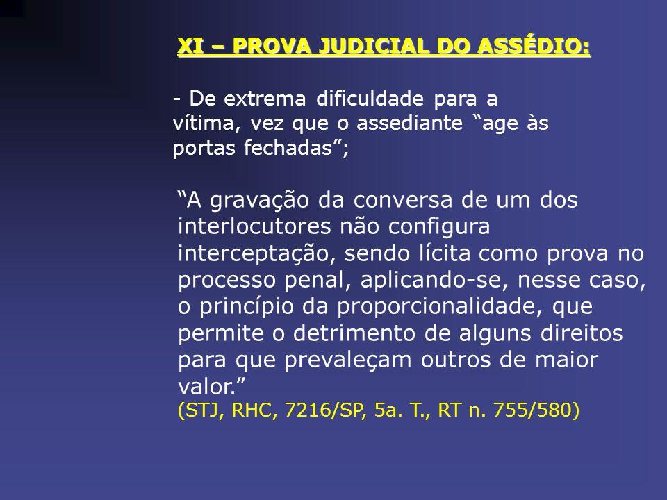 XI – PROVA JUDICIAL DO ASSÉDIO: - De extrema dificuldade para a vítima, vez que o assediante age às portas fechadas; A gravação da conversa de um dos