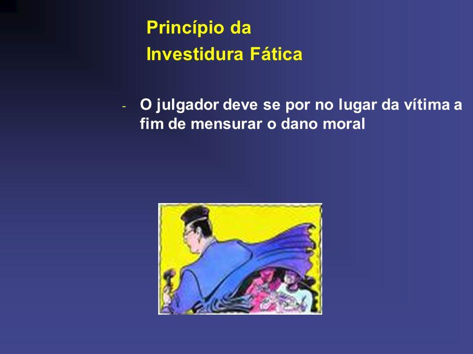 Princípio da Investidura Fática - O julgador deve se por no lugar da vítima a fim de mensurar o dano moral