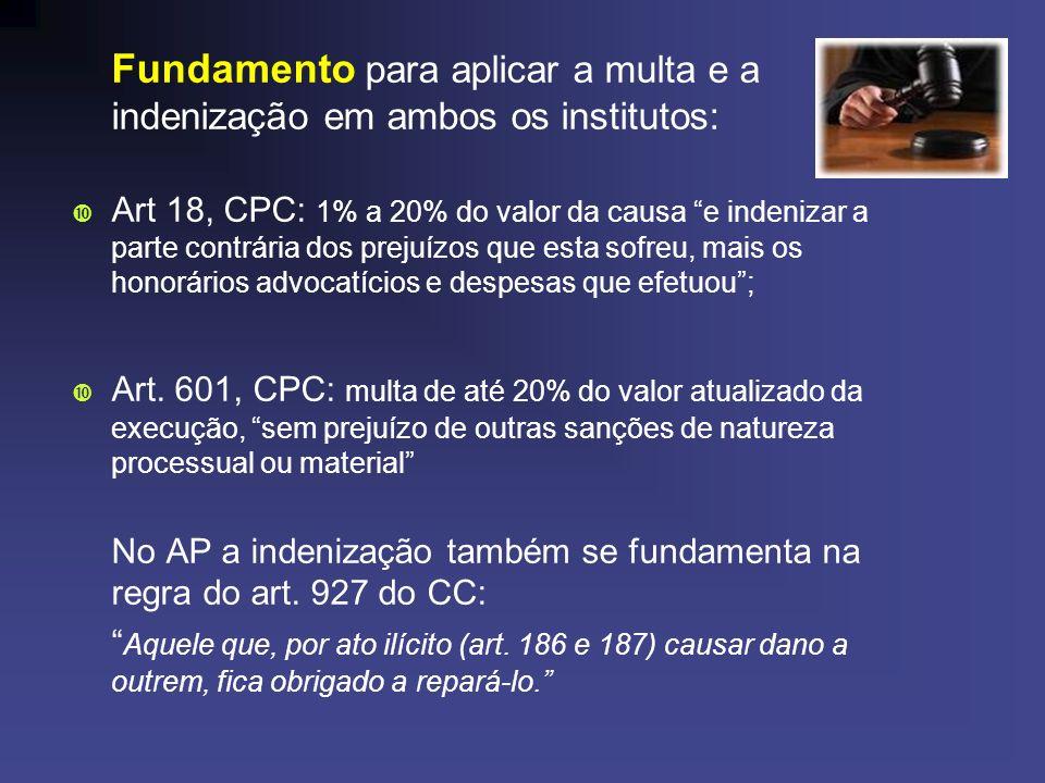 Fundamento para aplicar a multa e a indenização em ambos os institutos: Art 18, CPC: 1% a 20% do valor da causa e indenizar a parte contrária dos prej