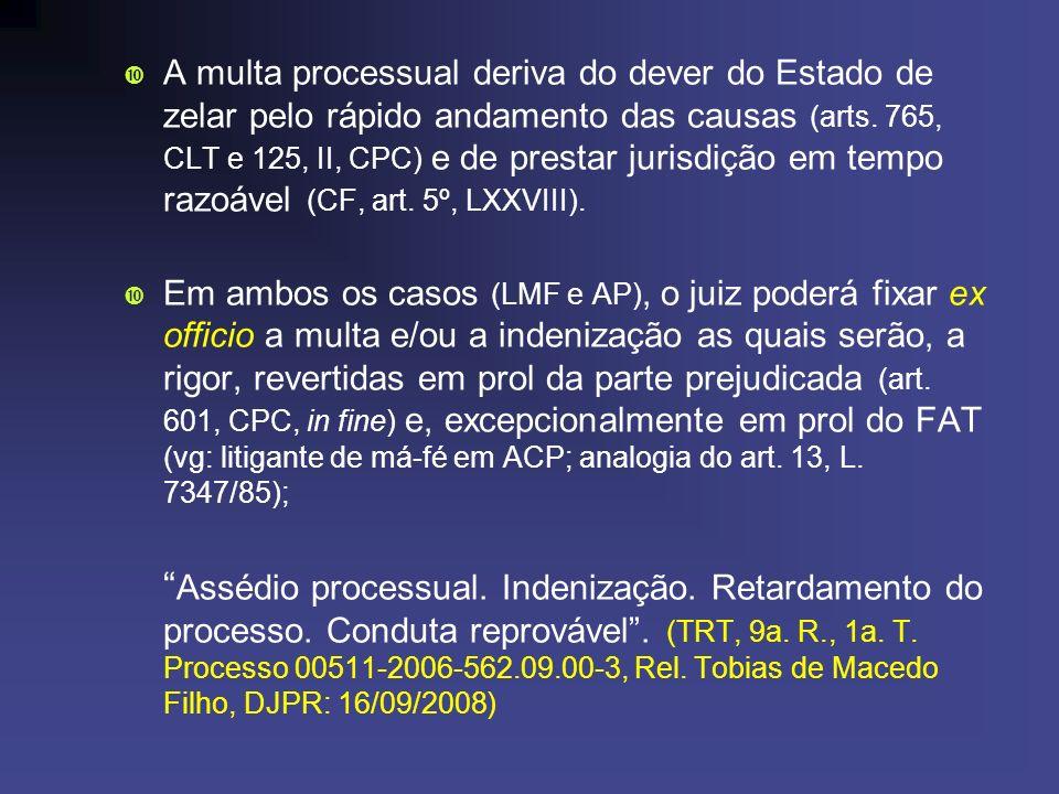 A multa processual deriva do dever do Estado de zelar pelo rápido andamento das causas (arts. 765, CLT e 125, II, CPC) e de prestar jurisdição em temp