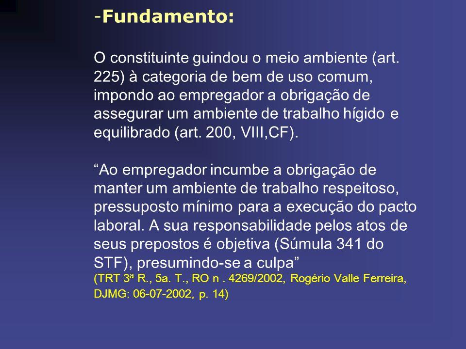 -Fundamento: O constituinte guindou o meio ambiente (art. 225) à categoria de bem de uso comum, impondo ao empregador a obrigação de assegurar um ambi