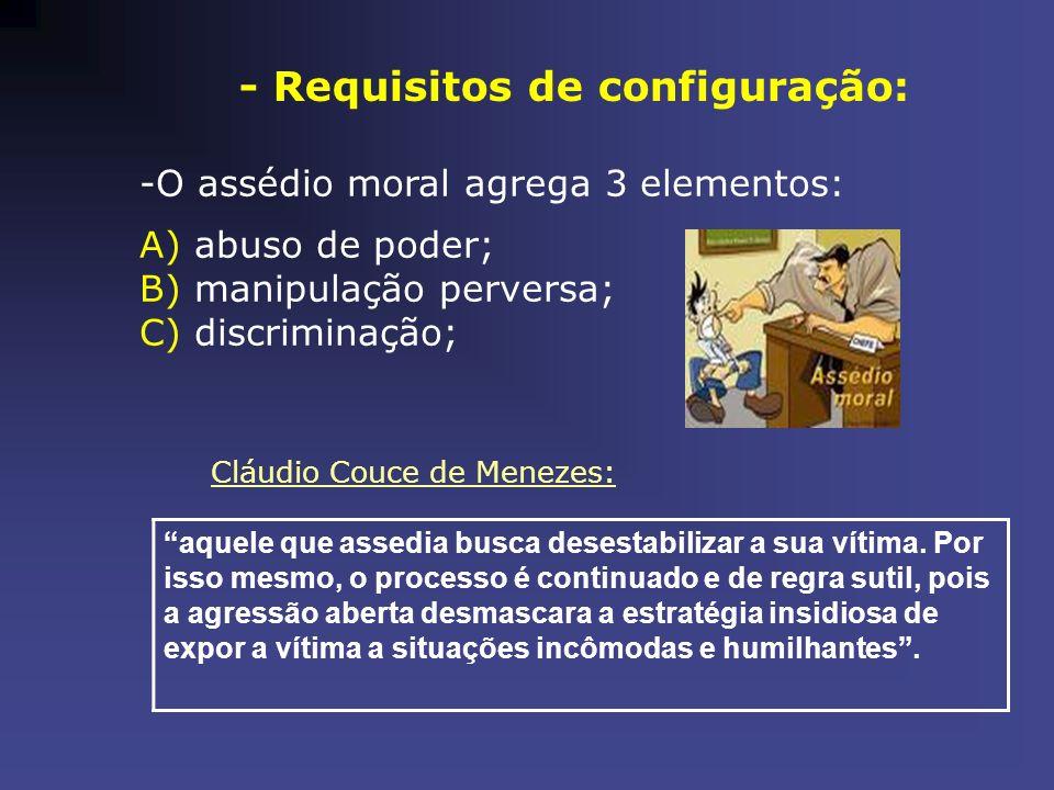 - Requisitos de configuração: -O assédio moral agrega 3 elementos: A) abuso de poder; B) manipulação perversa; C) discriminação; Cláudio Couce de Mene