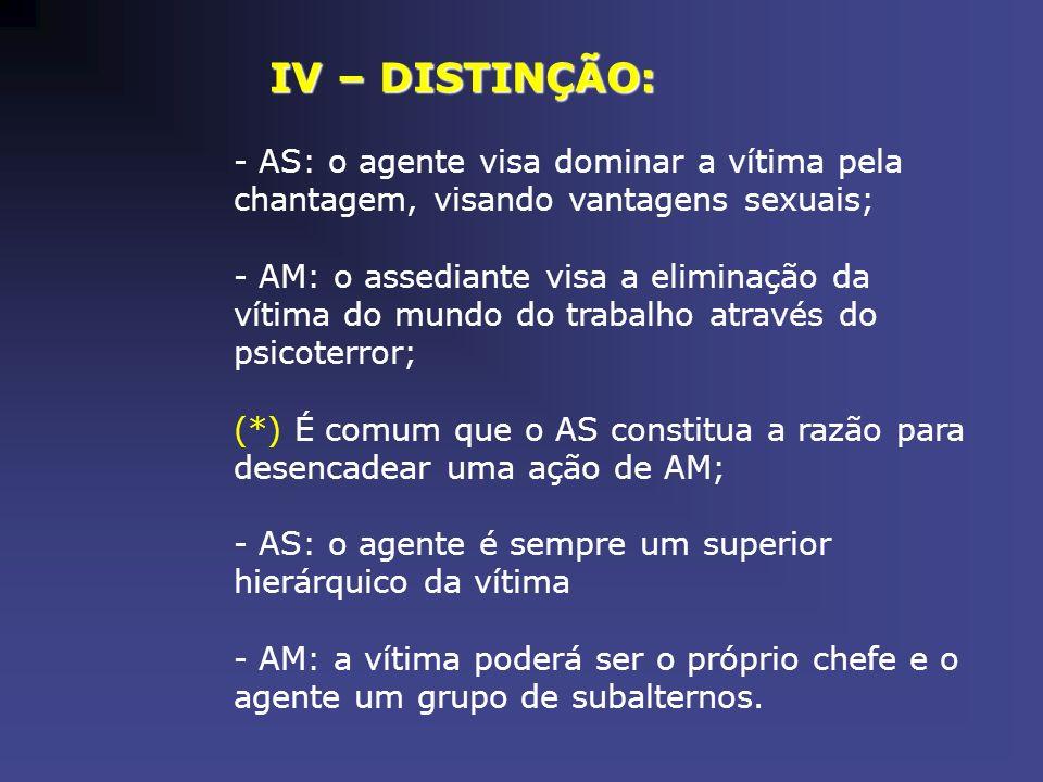 IV – DISTINÇÃO: - AS: o agente visa dominar a vítima pela chantagem, visando vantagens sexuais; - AM: o assediante visa a eliminação da vítima do mund