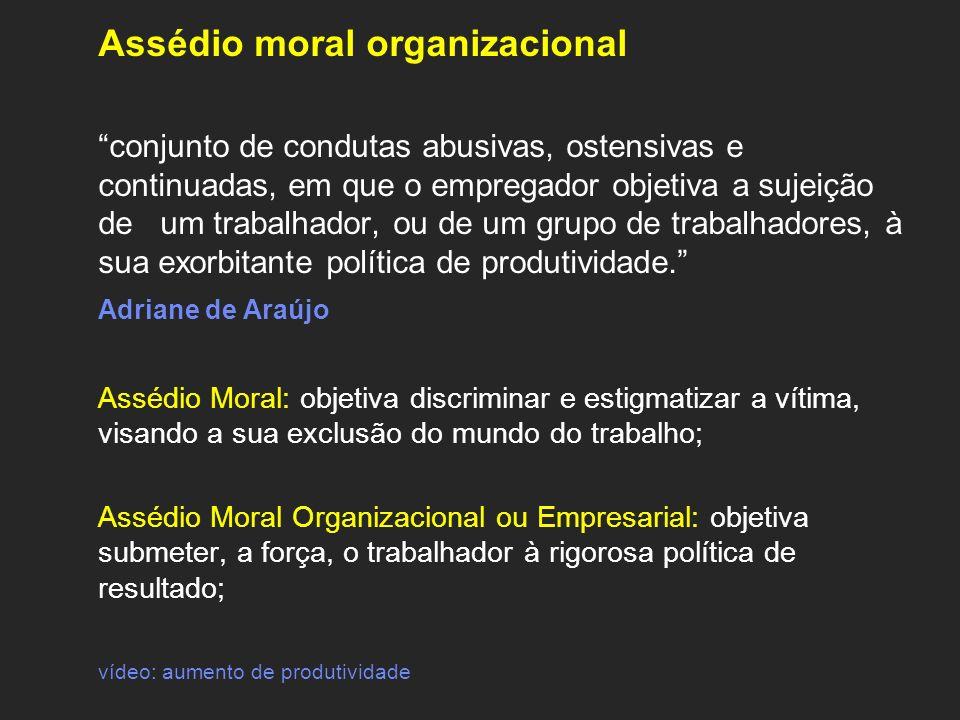Assédio moral organizacional conjunto de condutas abusivas, ostensivas e continuadas, em que o empregador objetiva a sujeição de um trabalhador, ou de