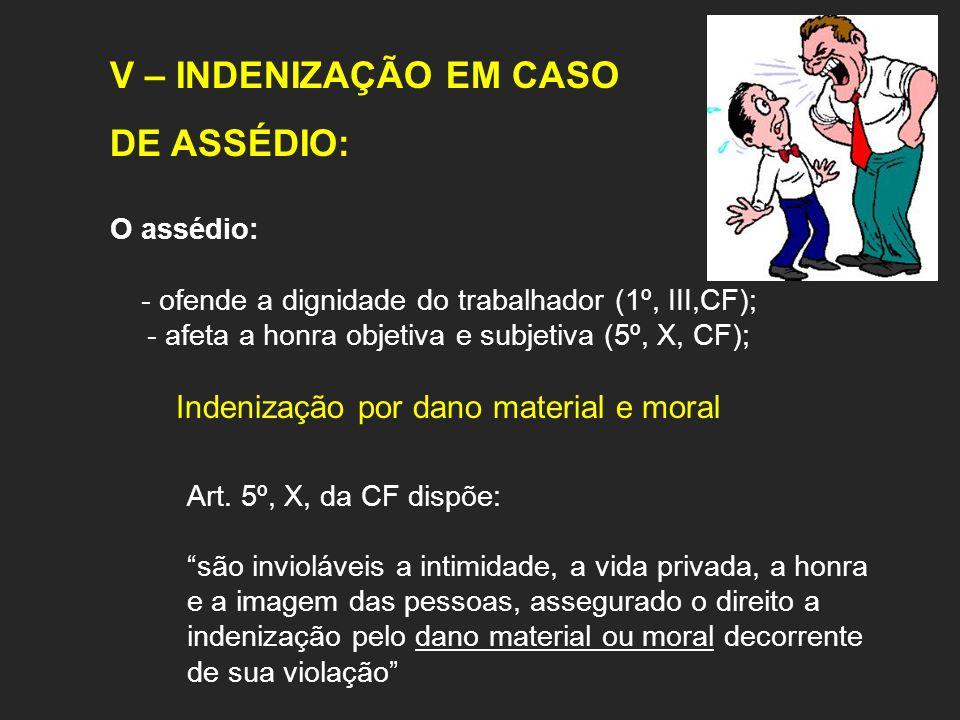 V – INDENIZAÇÃO EM CASO DE ASSÉDIO: O assédio: - ofende a dignidade do trabalhador (1º, III,CF); - afeta a honra objetiva e subjetiva (5º, X, CF); Ind