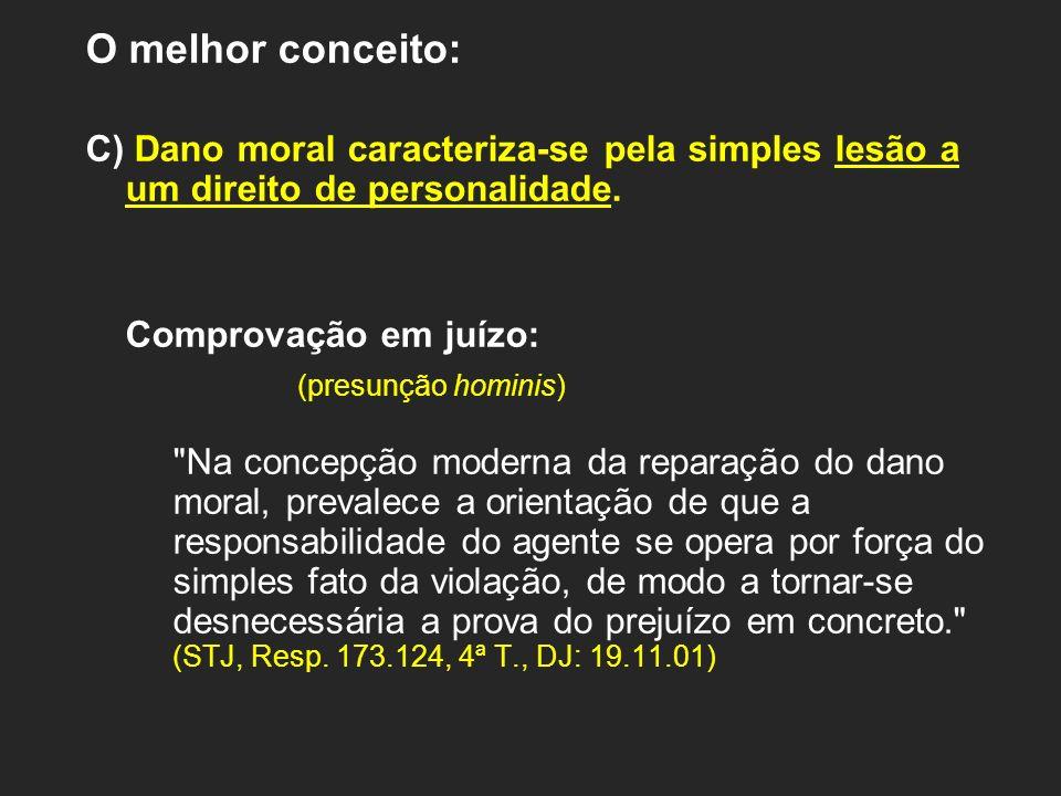 O melhor conceito: C) Dano moral caracteriza-se pela simples lesão a um direito de personalidade. Comprovação em juízo: (presunção hominis)