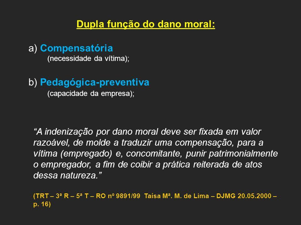 Dupla função do dano moral: a) Compensatória (necessidade da vítima); b) Pedagógica-preventiva (capacidade da empresa); A indenização por dano moral d