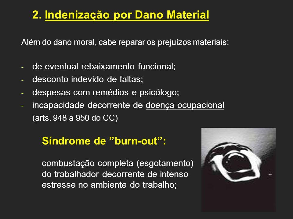 2. Indenização por Dano Material Além do dano moral, cabe reparar os prejuízos materiais: - de eventual rebaixamento funcional; - desconto indevido de