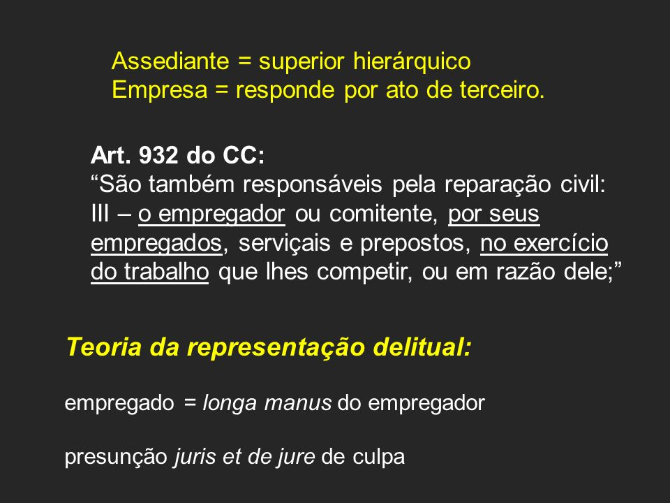 Assediante = superior hierárquico Empresa = responde por ato de terceiro. Art. 932 do CC: São também responsáveis pela reparação civil: III – o empreg