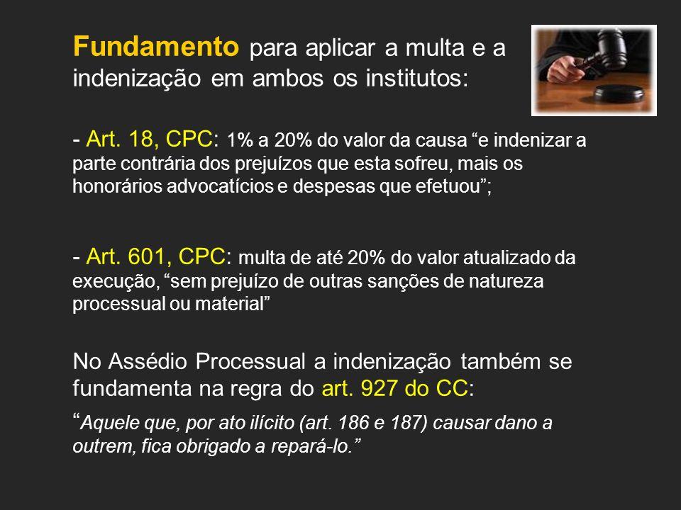 Fundamento para aplicar a multa e a indenização em ambos os institutos: - Art. 18, CPC: 1% a 20% do valor da causa e indenizar a parte contrária dos p