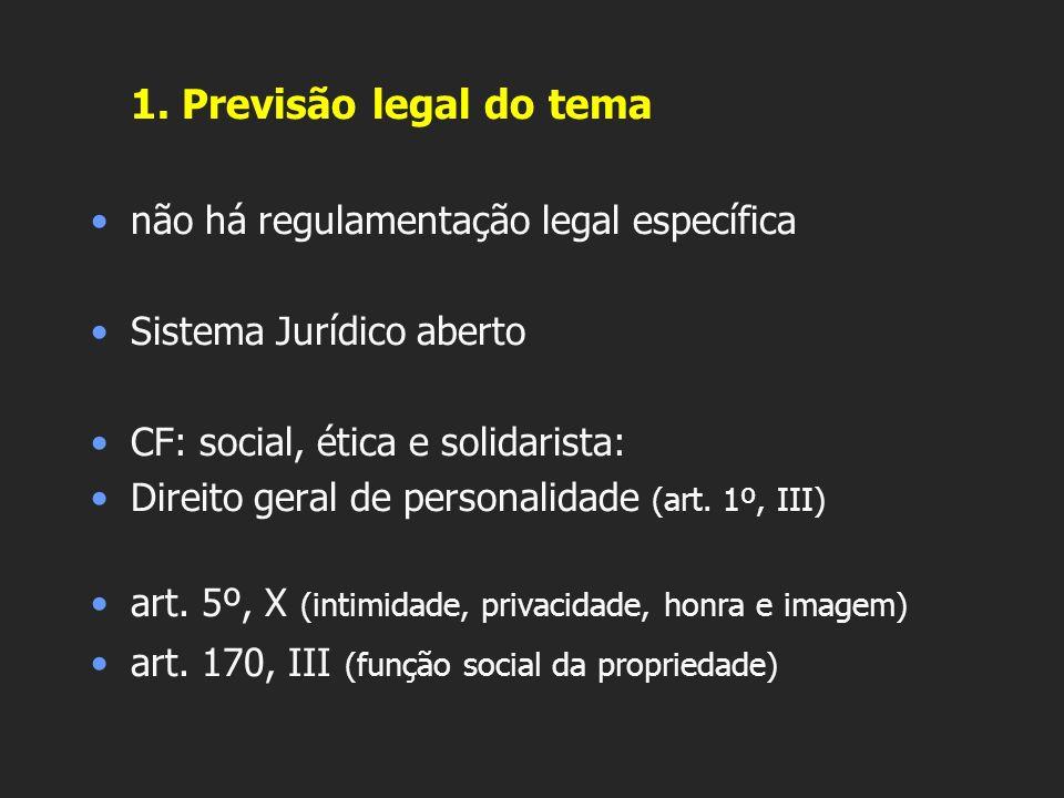 1. Previsão legal do tema não há regulamentação legal específica Sistema Jurídico aberto CF: social, ética e solidarista: Direito geral de personalida