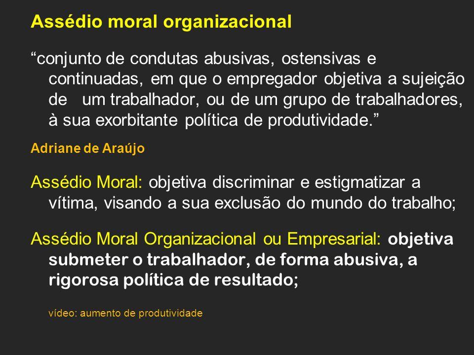 Assédio moral organizacional conjunto de condutas abusivas, ostensivas e continuadas, em que o empregador objetiva a sujeição de um trabalhador, ou de um grupo de trabalhadores, à sua exorbitante política de produtividade.