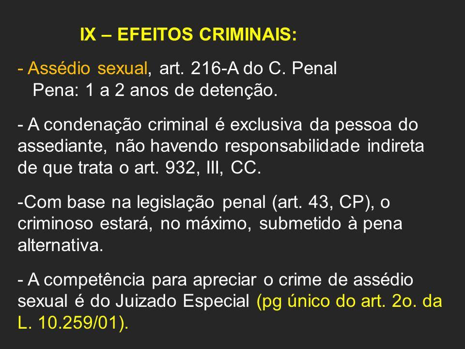 IX – EFEITOS CRIMINAIS: - Assédio sexual, art. 216-A do C. Penal Pena: 1 a 2 anos de detenção. - A condenação criminal é exclusiva da pessoa do assedi