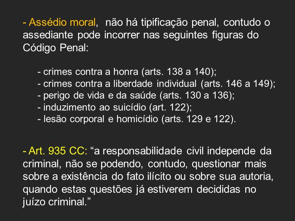 - Assédio moral, não há tipificação penal, contudo o assediante pode incorrer nas seguintes figuras do Código Penal: - crimes contra a honra (arts.