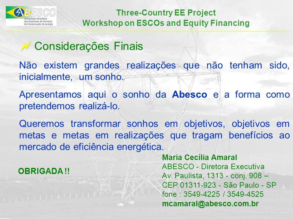 Three-Country EE Project Workshop on ESCOs and Equity Financing Considerações Finais Não existem grandes realizações que não tenham sido, inicialmente, um sonho.