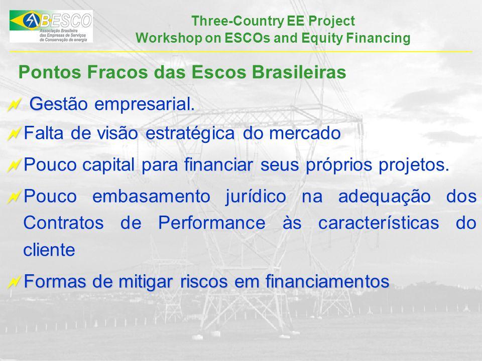 Three-Country EE Project Workshop on ESCOs and Equity Financing Pontos Fracos das Escos Brasileiras G Gestão empresarial.