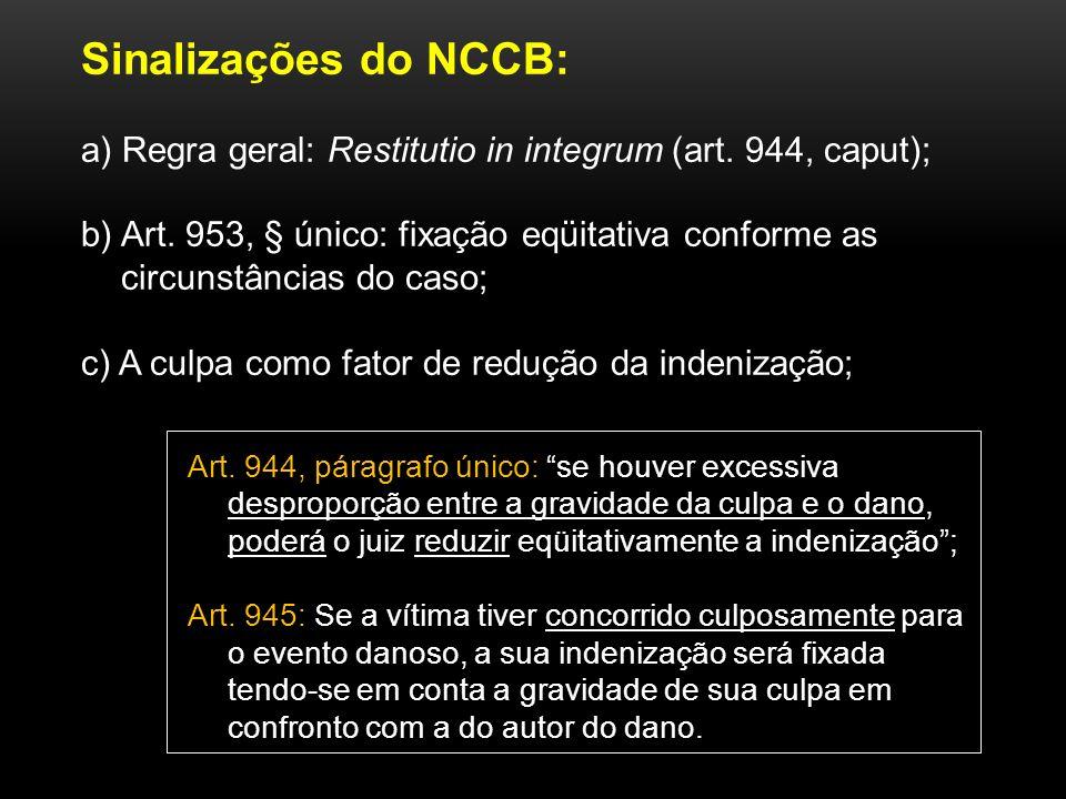 Sinalizações do NCCB: a) Regra geral: Restitutio in integrum (art. 944, caput); b) Art. 953, § único: fixação eqüitativa conforme as circunstâncias do