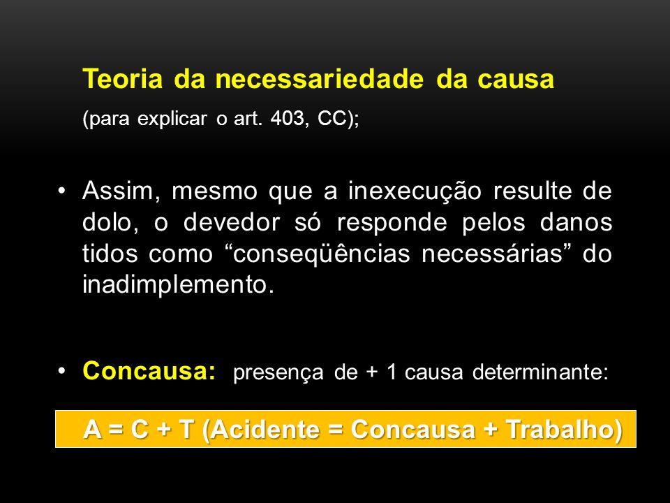 Teoria da necessariedade da causa (para explicar o art. 403, CC); Assim, mesmo que a inexecução resulte de dolo, o devedor só responde pelos danos tid