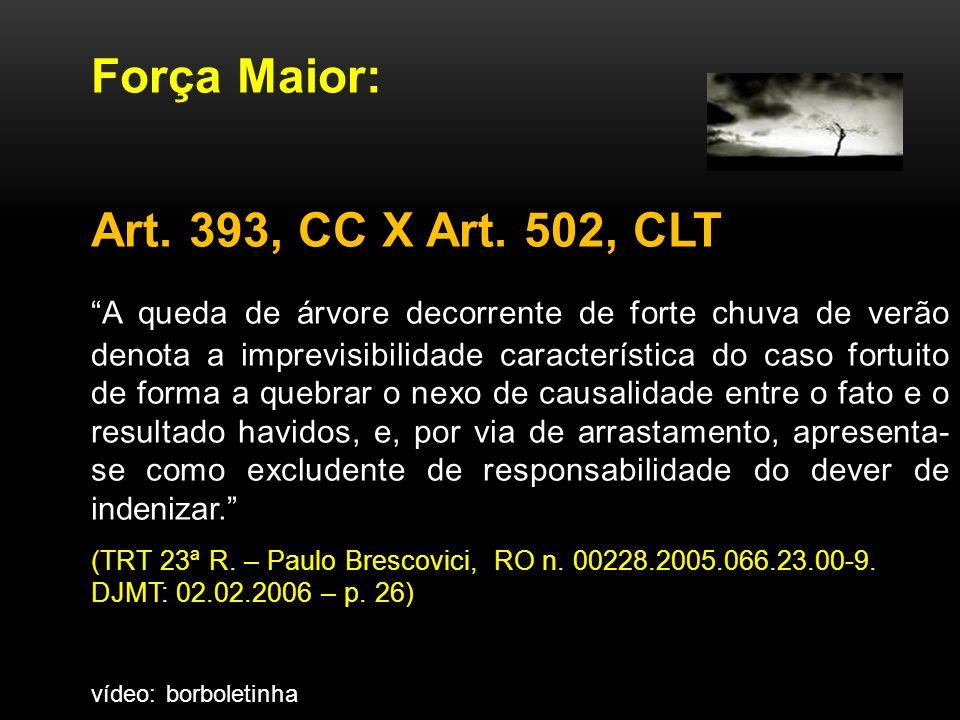 Força Maior: Art.393, CC X Art.