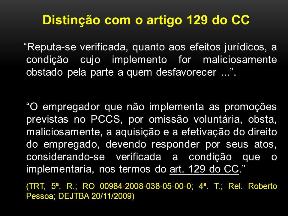 Distinção com o artigo 129 do CC Reputa-se verificada, quanto aos efeitos jurídicos, a condição cujo implemento for maliciosamente obstado pela parte