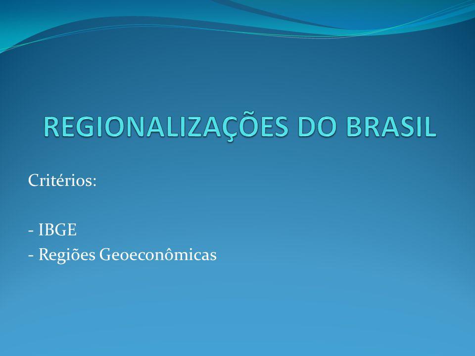 Critérios: - IBGE - Regiões Geoeconômicas
