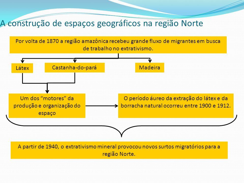 A construção de espaços geográficos na região Norte Por volta de 1870 a região amazônica recebeu grande fluxo de migrantes em busca de trabalho no ext