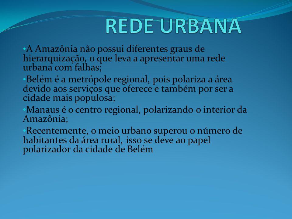 A Amazônia não possui diferentes graus de hierarquização, o que leva a apresentar uma rede urbana com falhas; Belém é a metrópole regional, pois polar