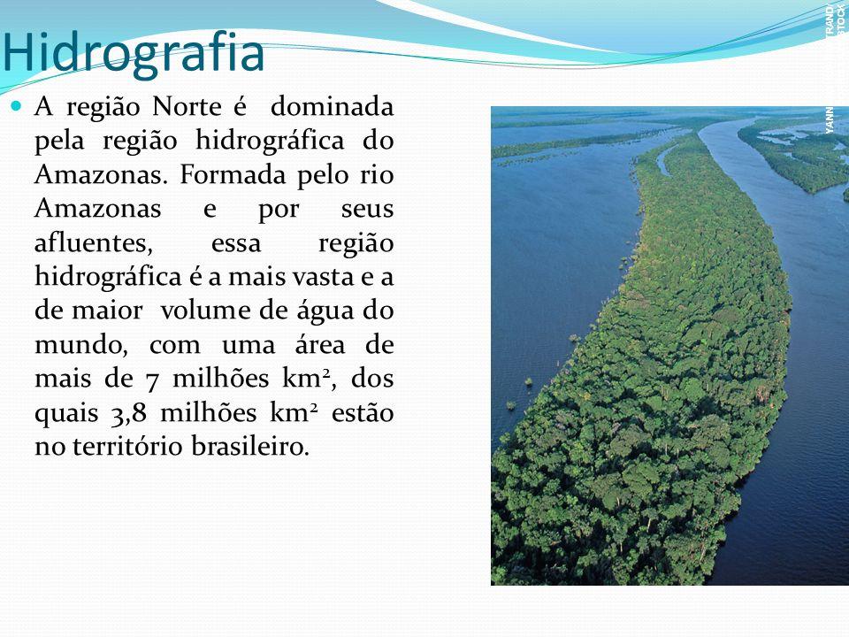 Hidrografia A região Norte é dominada pela região hidrográfica do Amazonas. Formada pelo rio Amazonas e por seus afluentes, essa região hidrográfica é